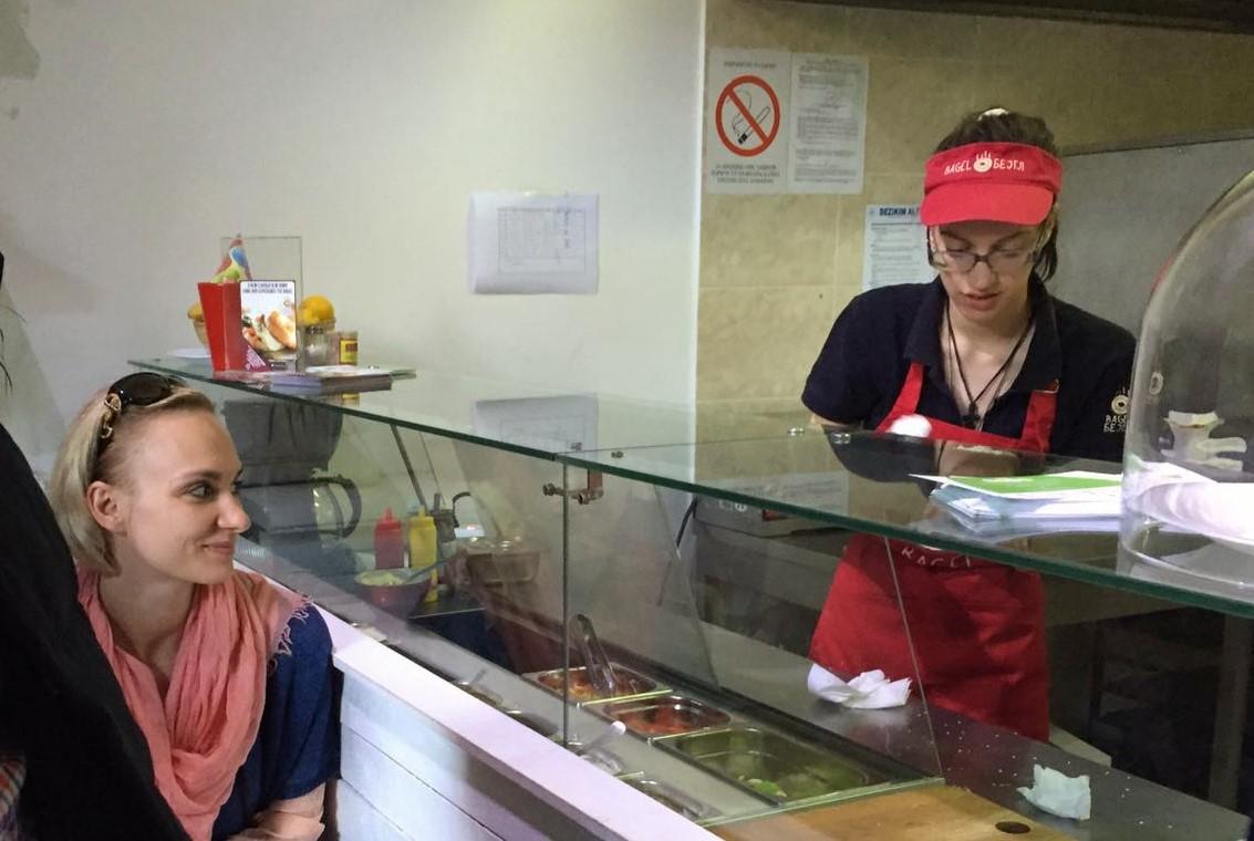 Irina at Bagel Shop, NGO Atina
